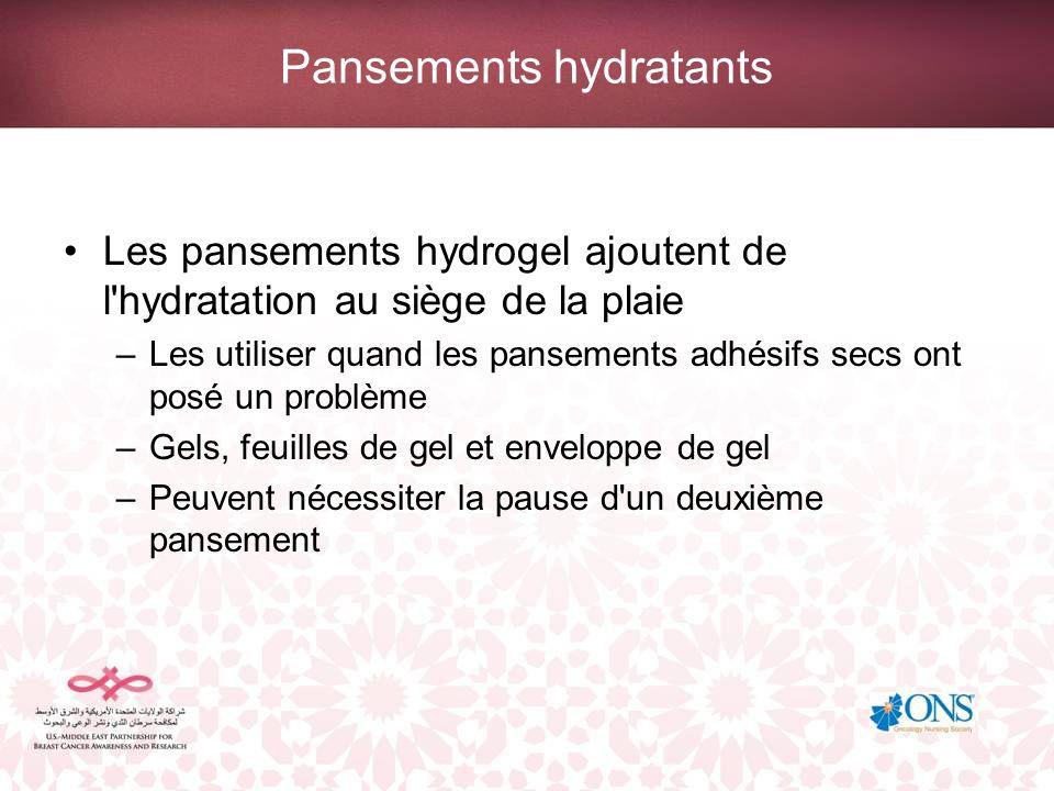 Pansements hydratants Les pansements hydrogel ajoutent de l'hydratation au siège de la plaie –Les utiliser quand les pansements adhésifs secs ont posé