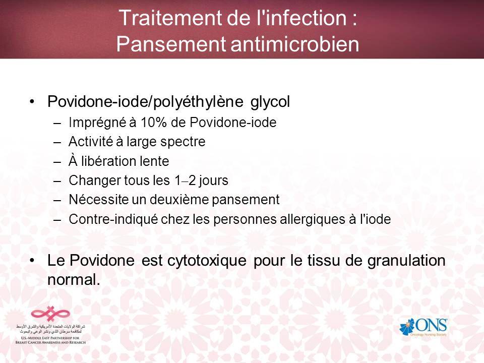 Traitement de l'infection : Pansement antimicrobien Povidone-iode/polyéthylène glycol –Imprégné à 10% de Povidone-iode –Activité à large spectre –À li