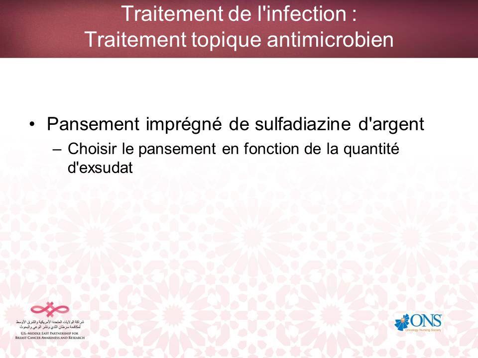 Traitement de l'infection : Traitement topique antimicrobien Pansement imprégné de sulfadiazine d'argent –Choisir le pansement en fonction de la quant
