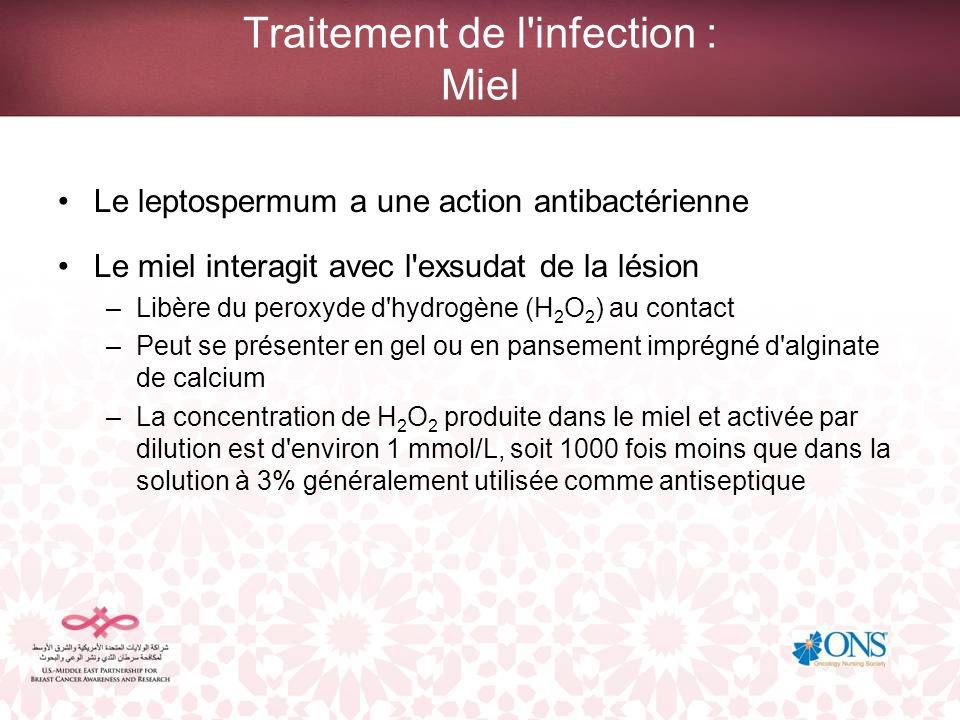 Traitement de l'infection : Miel Le leptospermum a une action antibactérienne Le miel interagit avec l'exsudat de la lésion –Libère du peroxyde d'hydr
