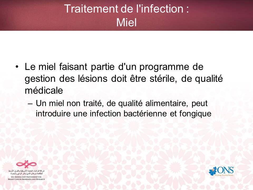 Traitement de l'infection : Miel Le miel faisant partie d'un programme de gestion des lésions doit être stérile, de qualité médicale –Un miel non trai