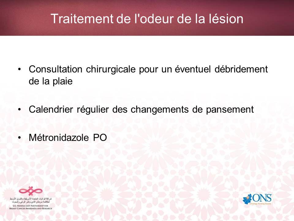 Traitement de l'odeur de la lésion Consultation chirurgicale pour un éventuel débridement de la plaie Calendrier régulier des changements de pansement