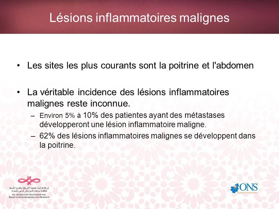 Lésions inflammatoires malignes Les sites les plus courants sont la poitrine et l'abdomen La véritable incidence des lésions inflammatoires malignes r
