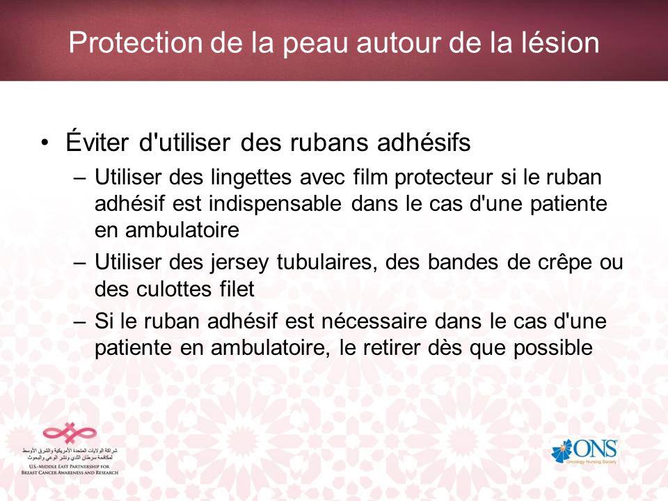 Protection de la peau autour de la lésion Éviter d'utiliser des rubans adhésifs –Utiliser des lingettes avec film protecteur si le ruban adhésif est i