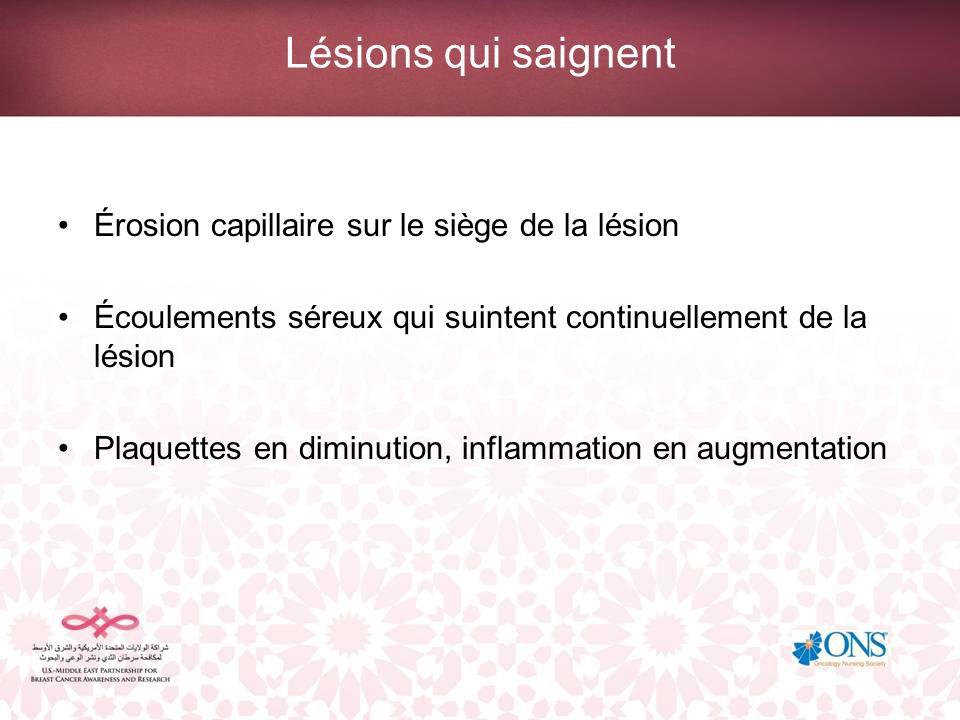Lésions qui saignent Érosion capillaire sur le siège de la lésion Écoulements séreux qui suintent continuellement de la lésion Plaquettes en diminutio