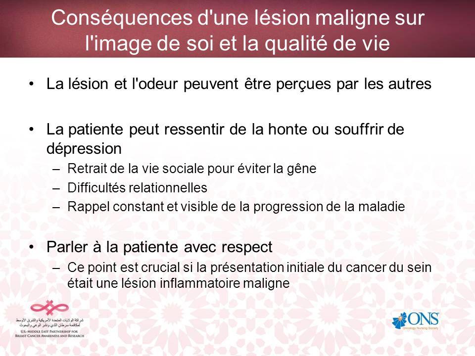 Conséquences d'une lésion maligne sur l'image de soi et la qualité de vie La lésion et l'odeur peuvent être perçues par les autres La patiente peut re