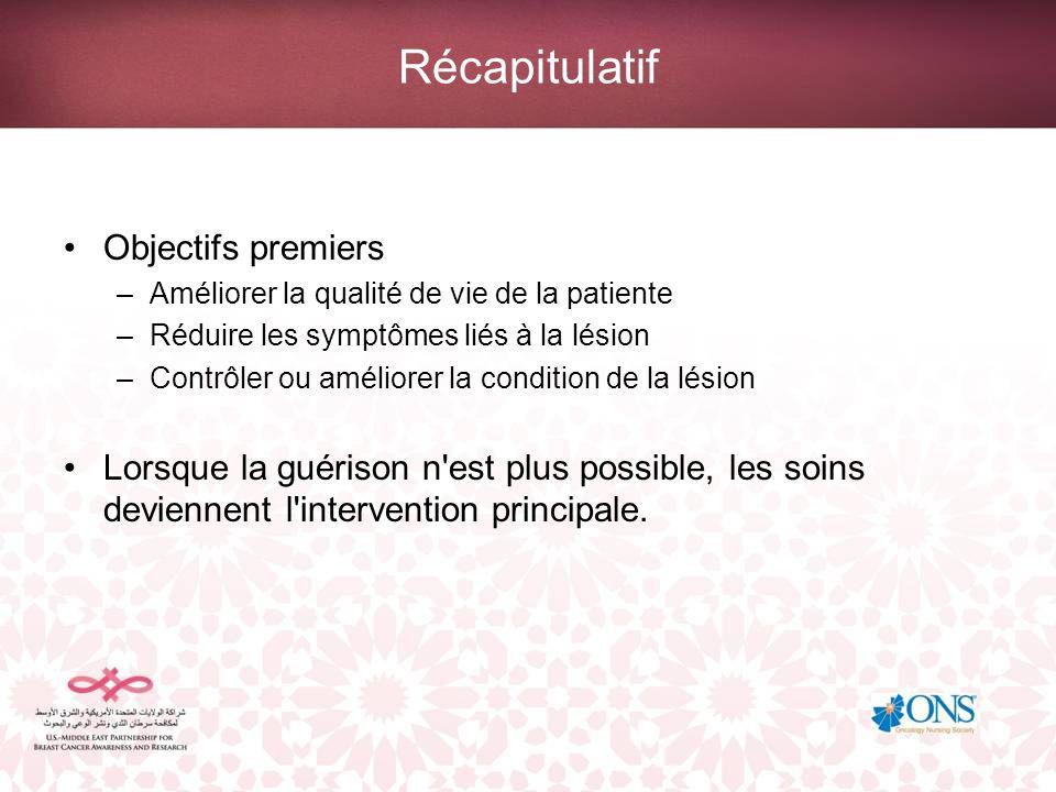 Récapitulatif Objectifs premiers –Améliorer la qualité de vie de la patiente –Réduire les symptômes liés à la lésion –Contrôler ou améliorer la condit