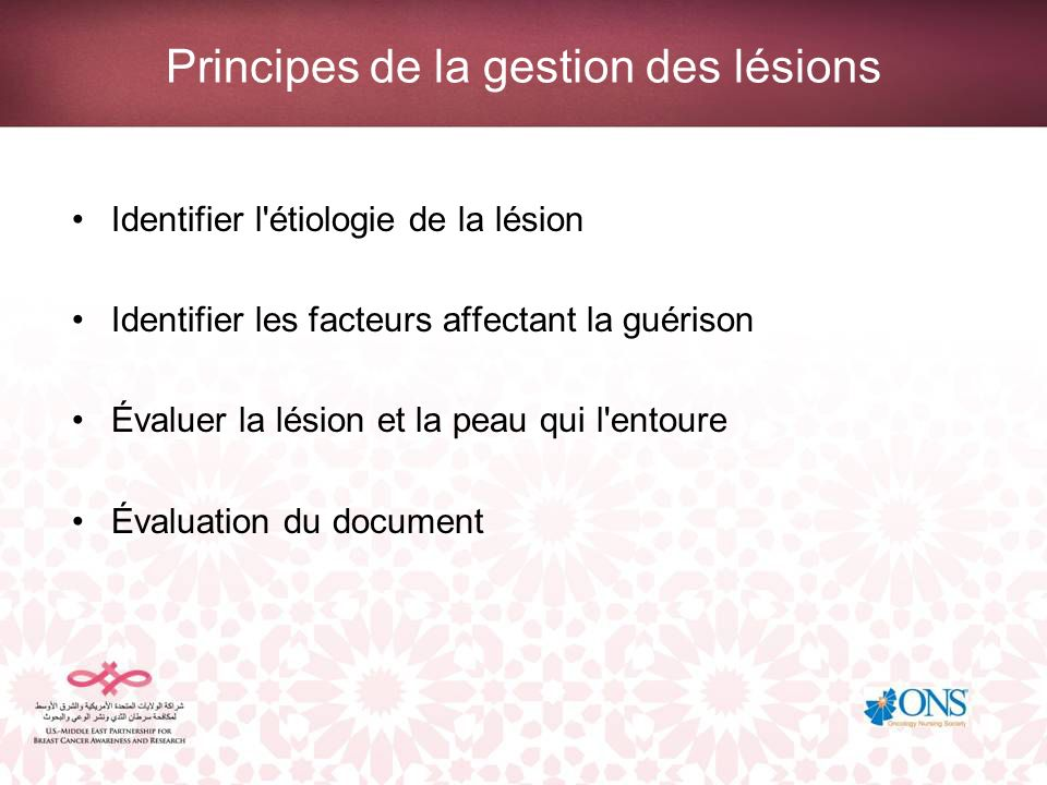 Principes de la gestion des lésions Traitement des lésions inflammatoires malignes Définir le programme de soins –Identifier les produits appropriés.