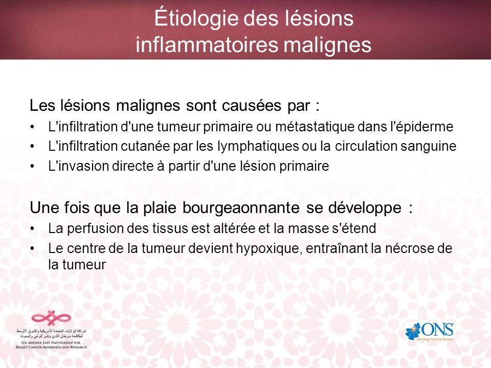 Étiologie des lésions inflammatoires malignes Les lésions malignes sont causées par : L'infiltration d'une tumeur primaire ou métastatique dans l'épid