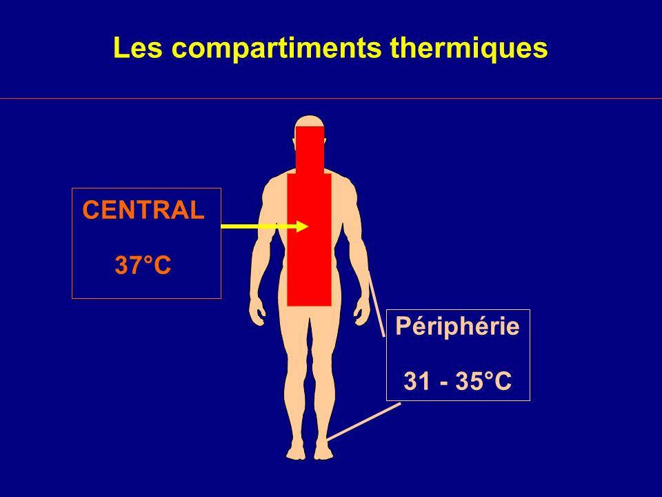 Redistribution Interne et vasoconstricteurs Ikeda et al.,1999 Durée (min) Température centrale (°C) 015304560 Fin 37 36 35 38 Phényléphrine Contrôle = p < 0,05 vs Contrôle