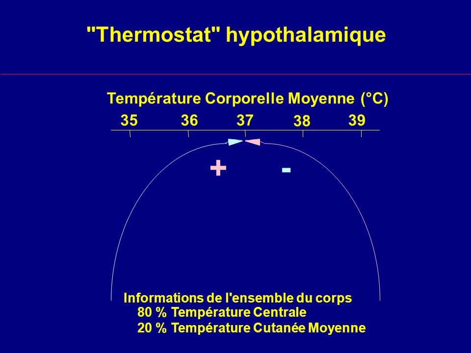 Efficacité du préchauffage 35 36 37 température centrale (°C) peropératoire * * * * * * * * * temps (min) // 0306090 fin préchauffé contrôle p<0.05 vs groupe contrôle * Prévention de l hypothermie initiale d après Just, Anesthesiology, 1993 (90 min)
