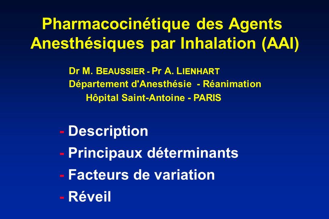 Pharmacocinétique des Agents Anesthésiques par Inhalation (AAI) - Description - Principaux déterminants - Facteurs de variation - Réveil Hôpital Saint