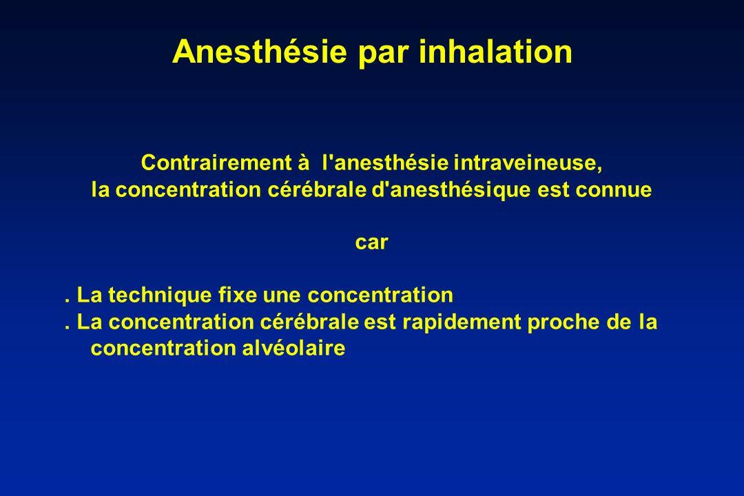 Anesthésie par inhalation Contrairement à l'anesthésie intraveineuse, la concentration cérébrale d'anesthésique est connue car. La technique fixe une