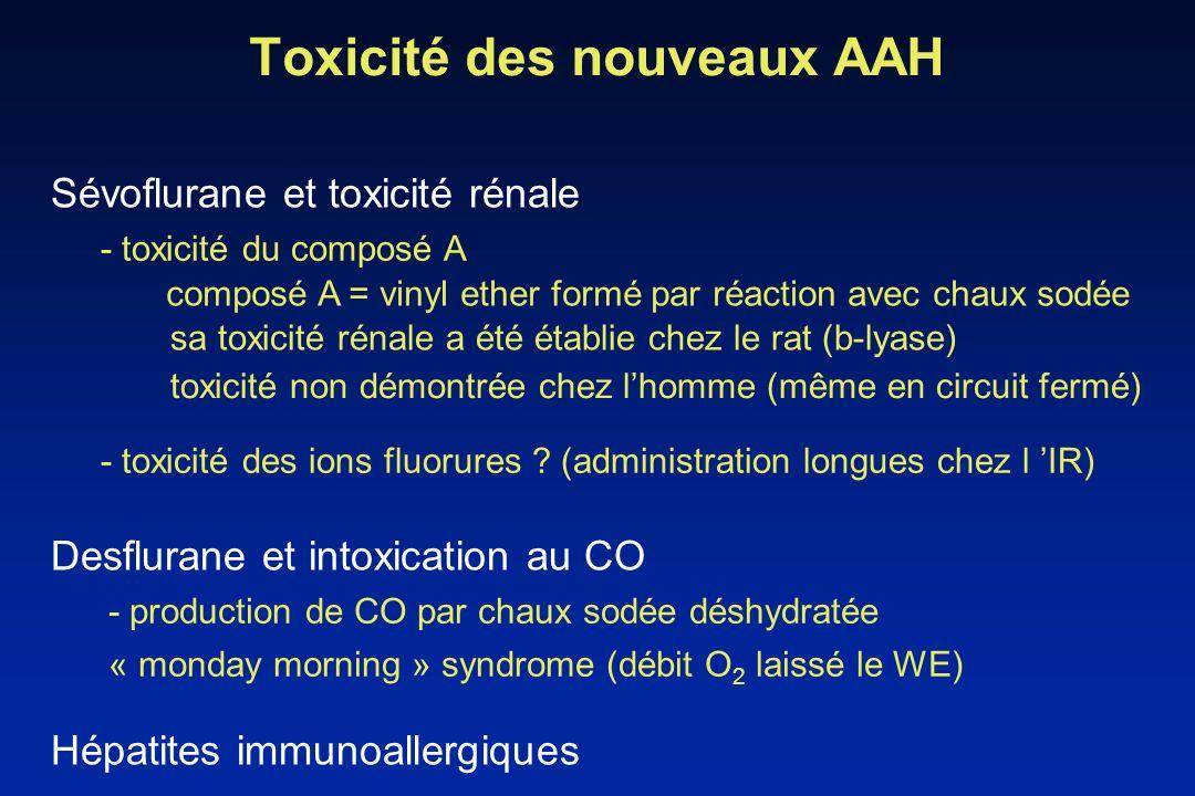Toxicité des nouveaux AAH Sévoflurane et toxicité rénale composé A = vinyl ether formé par réaction avec chaux sodée sa toxicité rénale a été établie