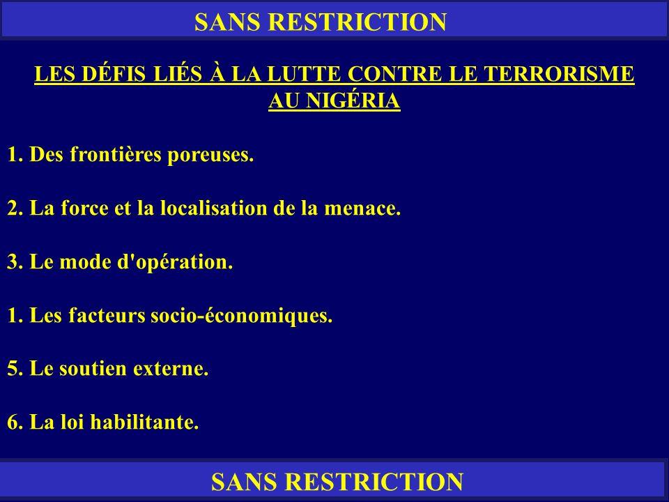 SANS RESTRICTION LES DÉFIS LIÉS À LA LUTTE CONTRE LE TERRORISME AU NIGÉRIA 1. Des frontières poreuses. 2. La force et la localisation de la menace. 3.