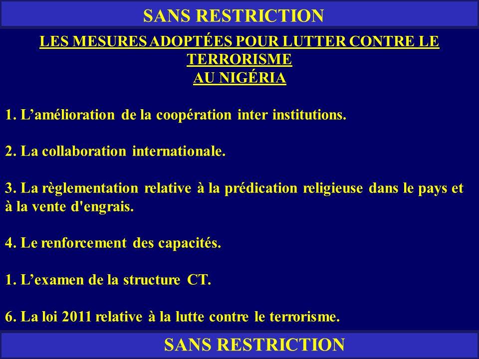 RESTREINT SANS RESTRICTION LES MESURES ADOPTÉES POUR LUTTER CONTRE LE TERRORISME AU NIGÉRIA 1. Lamélioration de la coopération inter institutions. 2.
