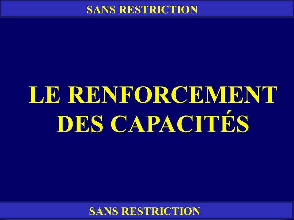 RESTREINT SANS RESTRICTION LE RENFORCEMENT DES CAPACITÉS