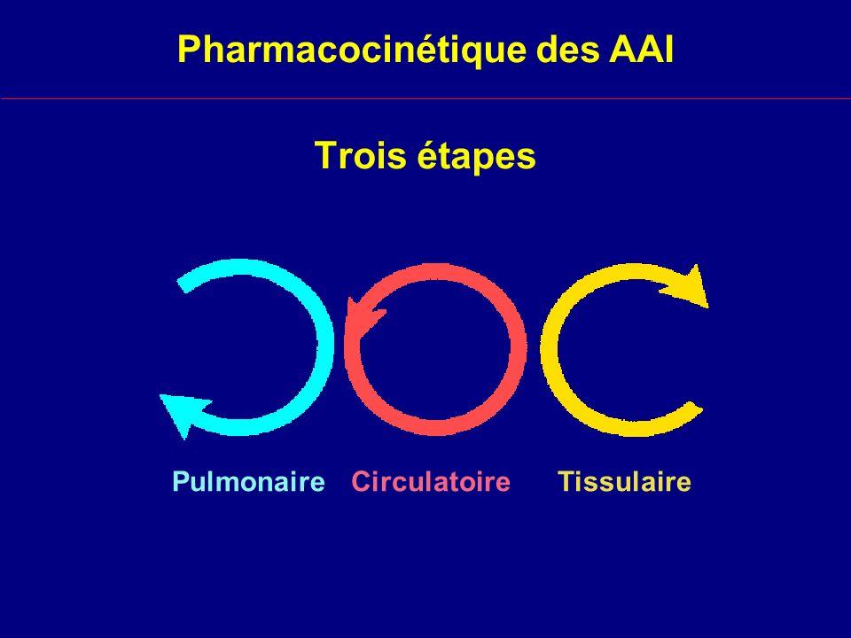 Trois étapes PulmonaireCirculatoireTissulaire Pharmacocinétique des AAI