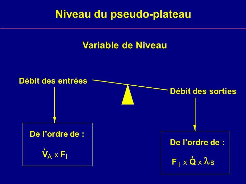 Niveau du pseudo-plateau Variable de Niveau Débit des entrées Débit des sorties De l ordre de : F X Q X s I.