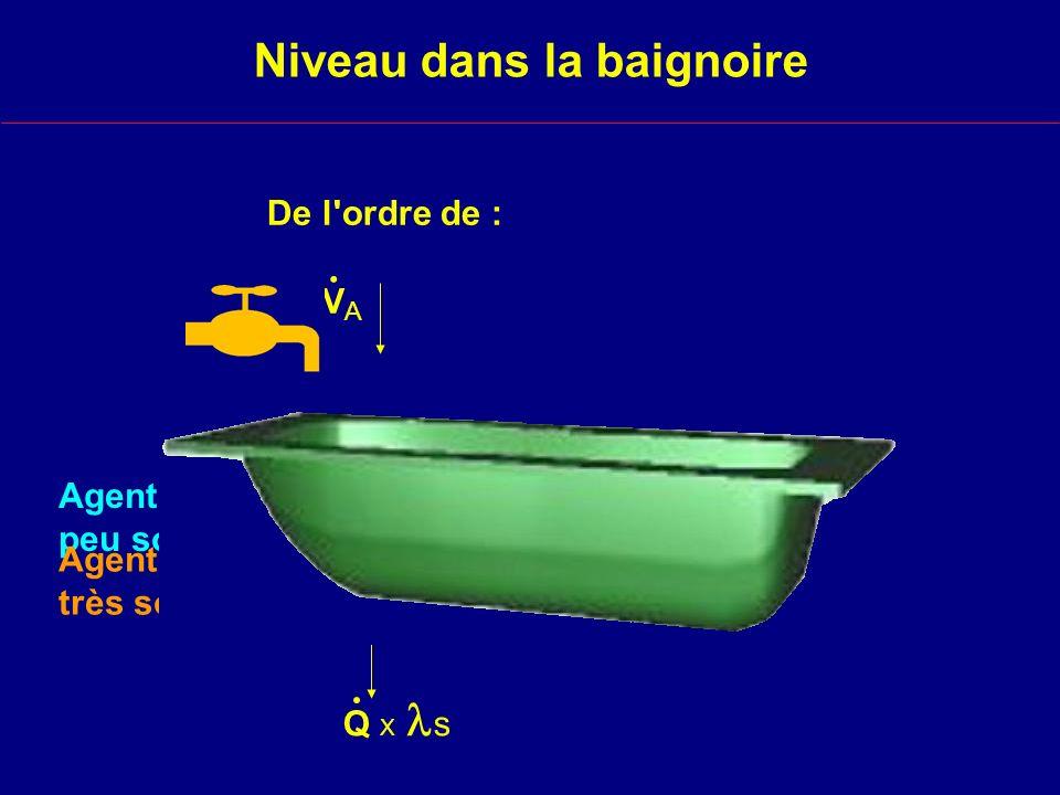 Niveau dans la baignoire De l ordre de : V A. Q X s. Agent peu soluble Agent très soluble