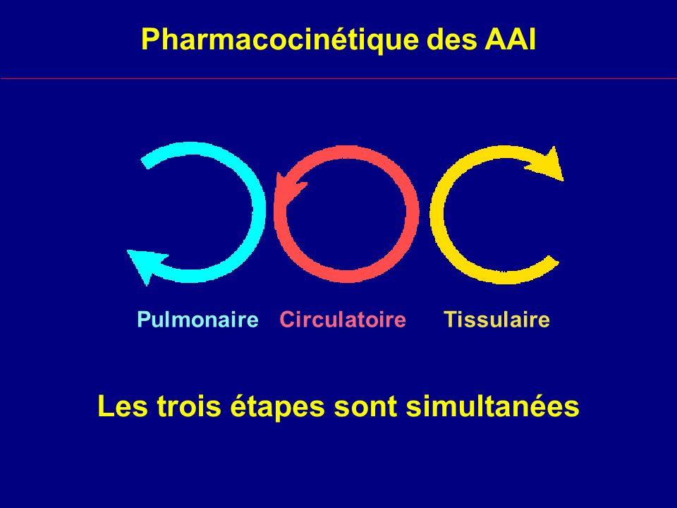 Les trois étapes sont simultanées CirculatoirePulmonaireTissulaire Pharmacocinétique des AAI