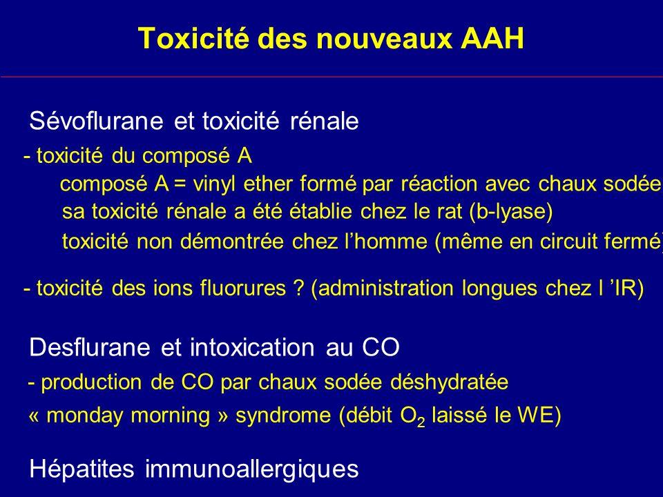 Toxicité des nouveaux AAH Sévoflurane et toxicité rénale composé A = vinyl ether formé par réaction avec chaux sodée sa toxicité rénale a été établie chez le rat (b-lyase) - toxicité des ions fluorures .