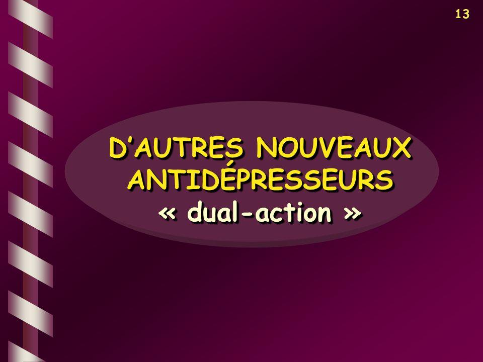 13 DAUTRES NOUVEAUX ANTIDÉPRESSEURS « dual-action » « dual-action »