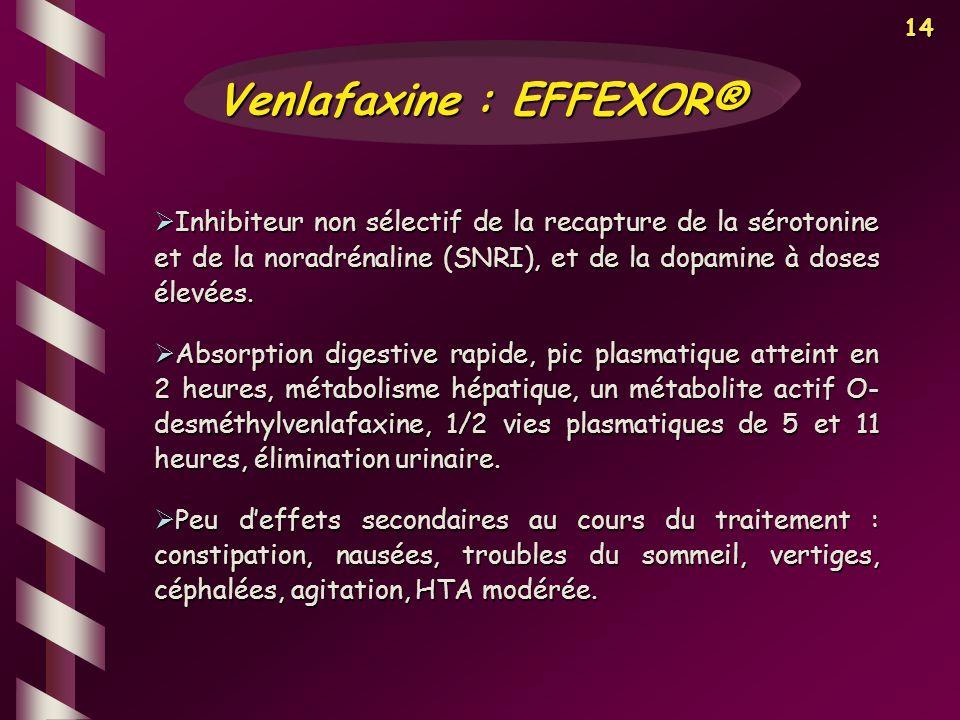 14 Inhibiteur non sélectif de la recapture de la sérotonine et de la noradrénaline (SNRI), et de la dopamine à doses élevées. Inhibiteur non sélectif