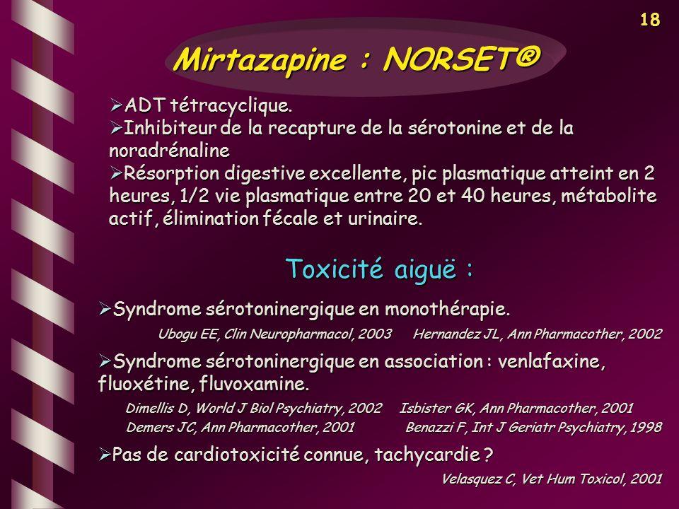 18 ADT tétracyclique. ADT tétracyclique. Inhibiteur de la recapture de la sérotonine et de la noradrénaline Inhibiteur de la recapture de la sérotonin