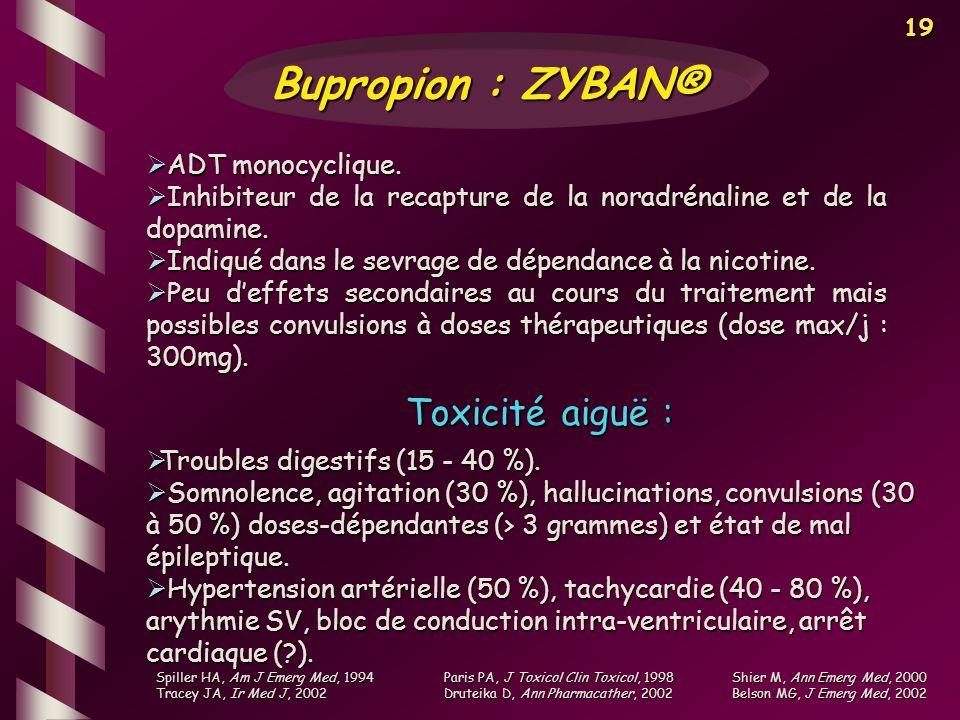 19 ADT monocyclique. ADT monocyclique. Inhibiteur de la recapture de la noradrénaline et de la dopamine. Inhibiteur de la recapture de la noradrénalin