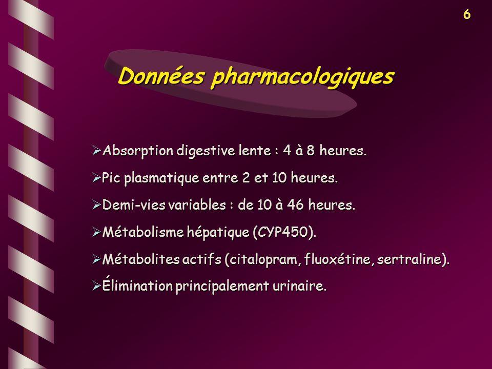 6 Absorption digestive lente : 4 à 8 heures. Absorption digestive lente : 4 à 8 heures. Pic plasmatique entre 2 et 10 heures. Pic plasmatique entre 2