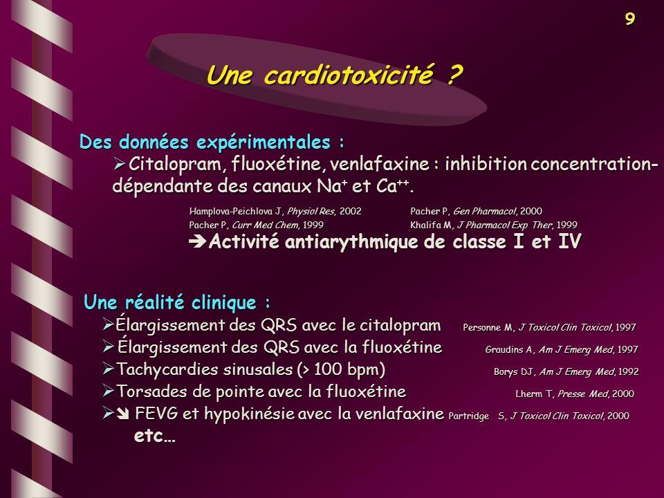9 Une cardiotoxicité ? Des données expérimentales : Citalopram, fluoxétine, venlafaxine : inhibition concentration- dépendante des canaux Na + et Ca +