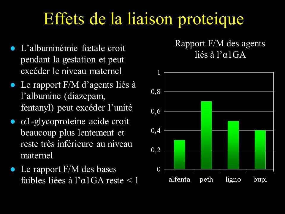 Effets de la liaison proteique Lalbuminémie fœtale croit pendant la gestation et peut excéder le niveau maternel Le rapport F/M dagents liés à lalbumi