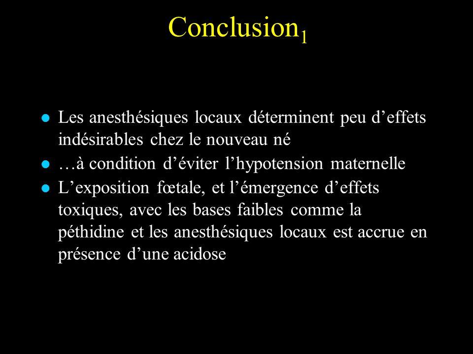Conclusion 1 Les anesthésiques locaux déterminent peu deffets indésirables chez le nouveau né …à condition déviter lhypotension maternelle Lexposition