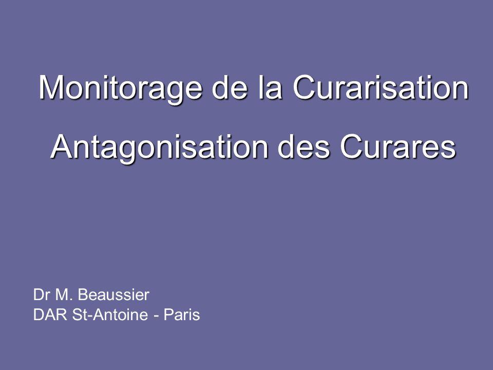 Monitorage pour la décurarisation Conférence de Consensus SFAR AFAR 2000, 19, fi 34-37 « Les tests cliniques ne suffisent pas à garantir labsence de curarisation résiduelle.