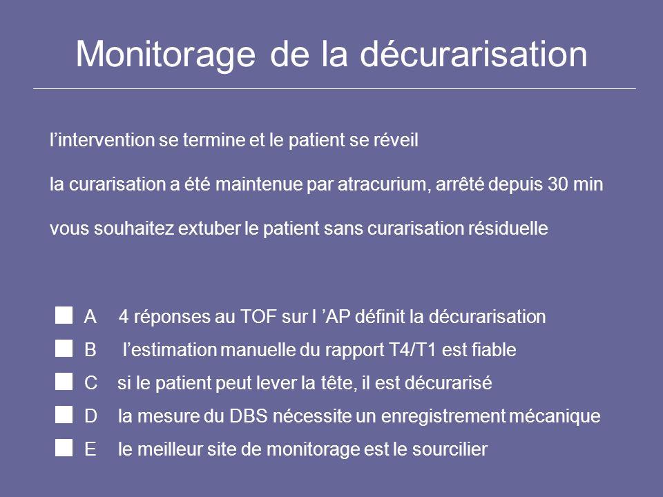 Monitorage de la décurarisation lintervention se termine et le patient se réveil la curarisation a été maintenue par atracurium, arrêté depuis 30 min