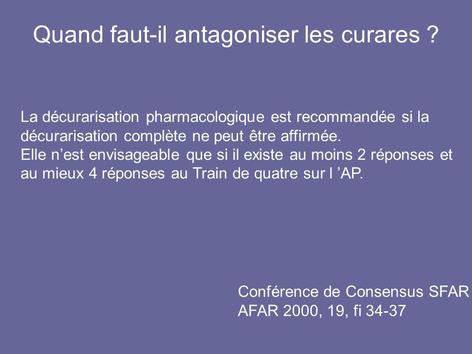 Quand faut-il antagoniser les curares ? Conférence de Consensus SFAR AFAR 2000, 19, fi 34-37 La décurarisation pharmacologique est recommandée si la d