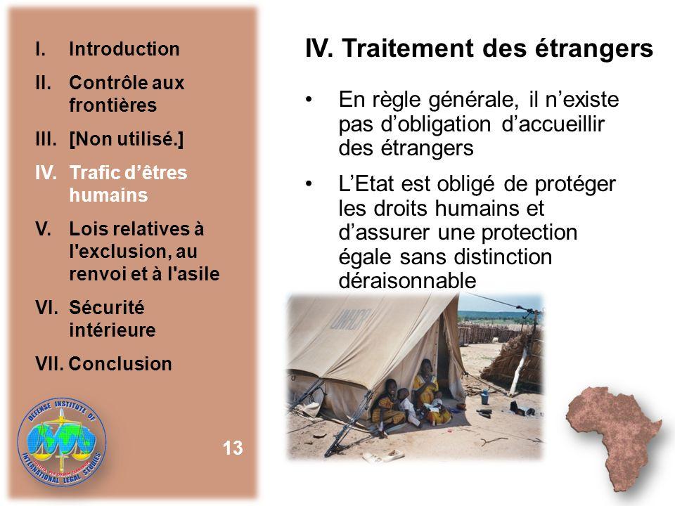 IV. Traitement des étrangers En règle générale, il nexiste pas dobligation daccueillir des étrangers LEtat est obligé de protéger les droits humains e