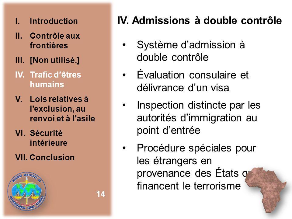 IV. Admissions à double contrôle Système dadmission à double contrôle Évaluation consulaire et délivrance dun visa Inspection distincte par les autori