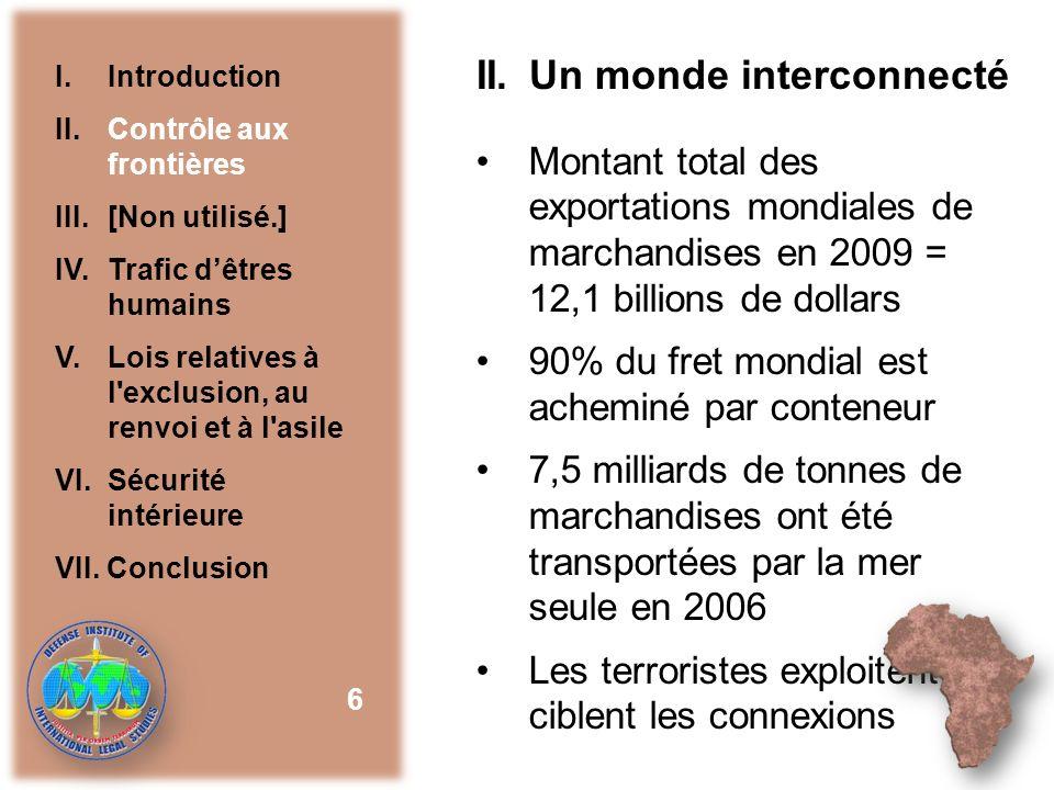 II. Un monde interconnecté Montant total des exportations mondiales de marchandises en 2009 = 12,1 billions de dollars 90% du fret mondial est achemin