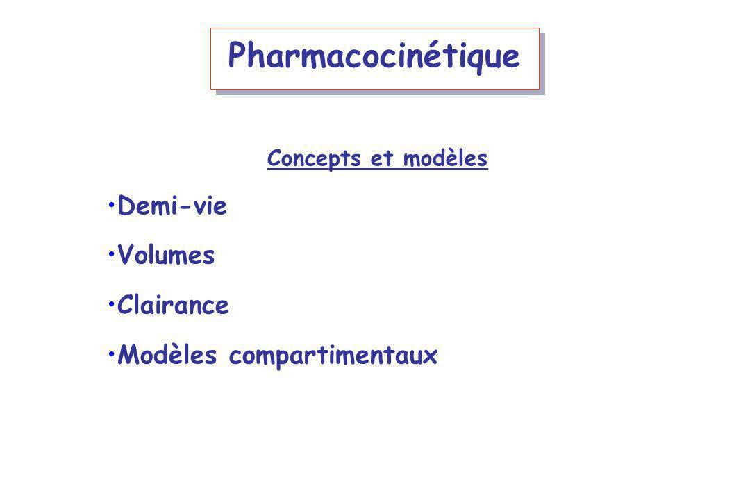 Pharmacocinétique Concepts et modèles Demi-vie Volumes Clairance Modèles compartimentaux