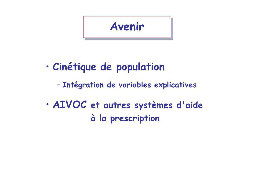 Avenir Cinétique de population –Intégration de variables explicatives AIVOC et autres systèmes d aide à la prescription