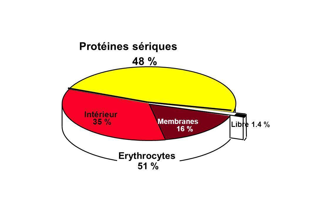 Erythrocytes 51 % Membranes 16 % Intérieur 35 % Protéines sériques 48 % Libre 1.4 %