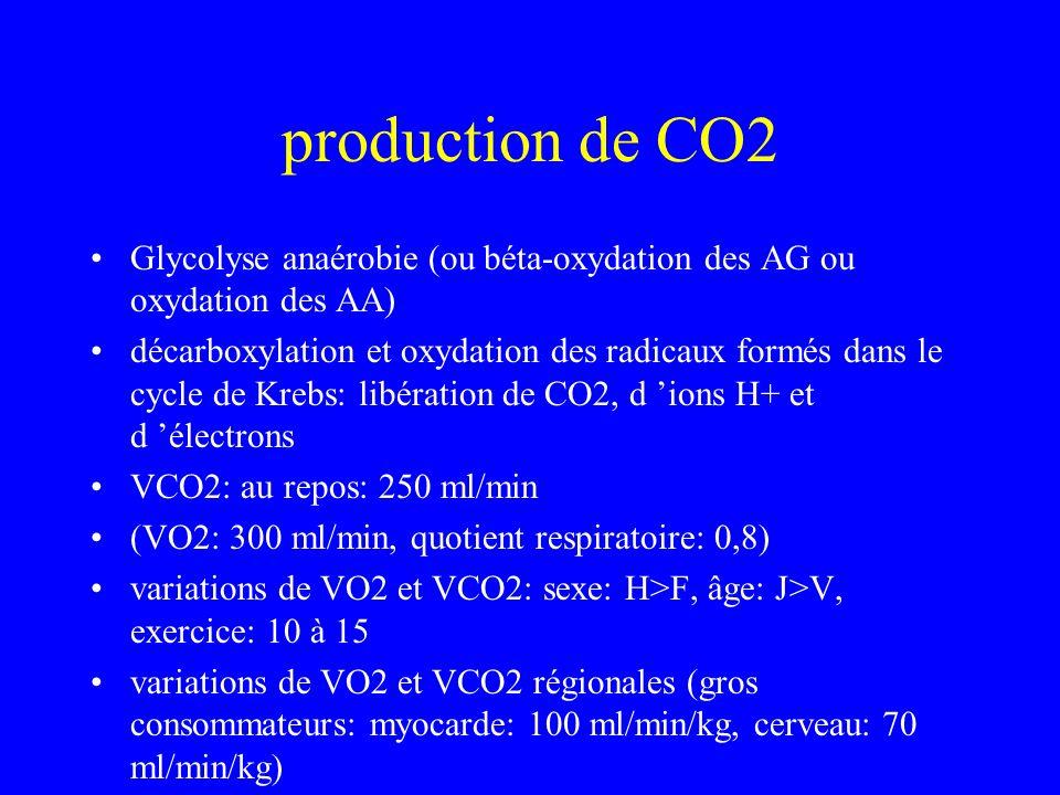 production de CO2 Glycolyse anaérobie (ou béta-oxydation des AG ou oxydation des AA) décarboxylation et oxydation des radicaux formés dans le cycle de