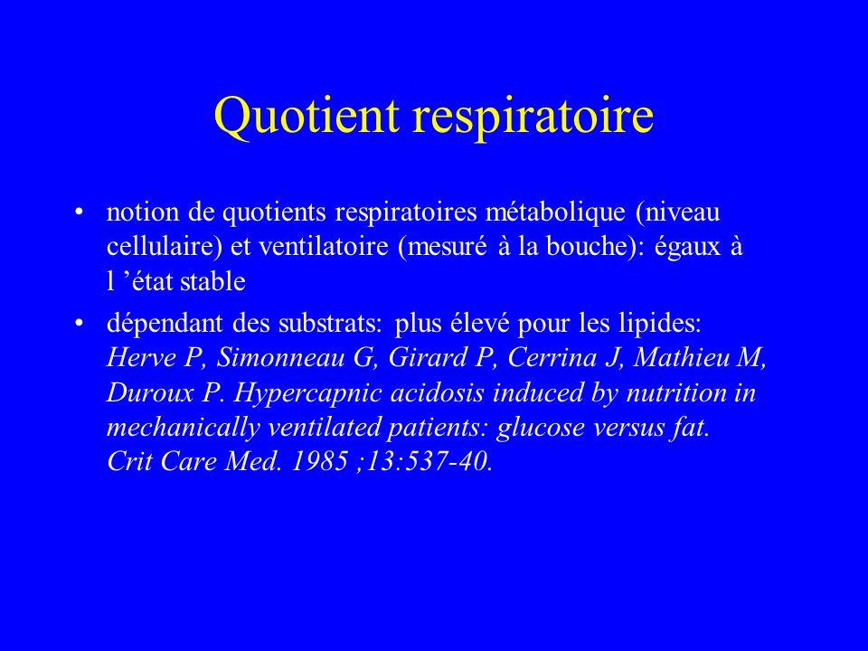 Quotient respiratoire notion de quotients respiratoires métabolique (niveau cellulaire) et ventilatoire (mesuré à la bouche): égaux à l état stable dé