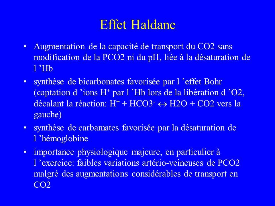 Effet Haldane Augmentation de la capacité de transport du CO2 sans modification de la PCO2 ni du pH, liée à la désaturation de l Hb synthèse de bicarb