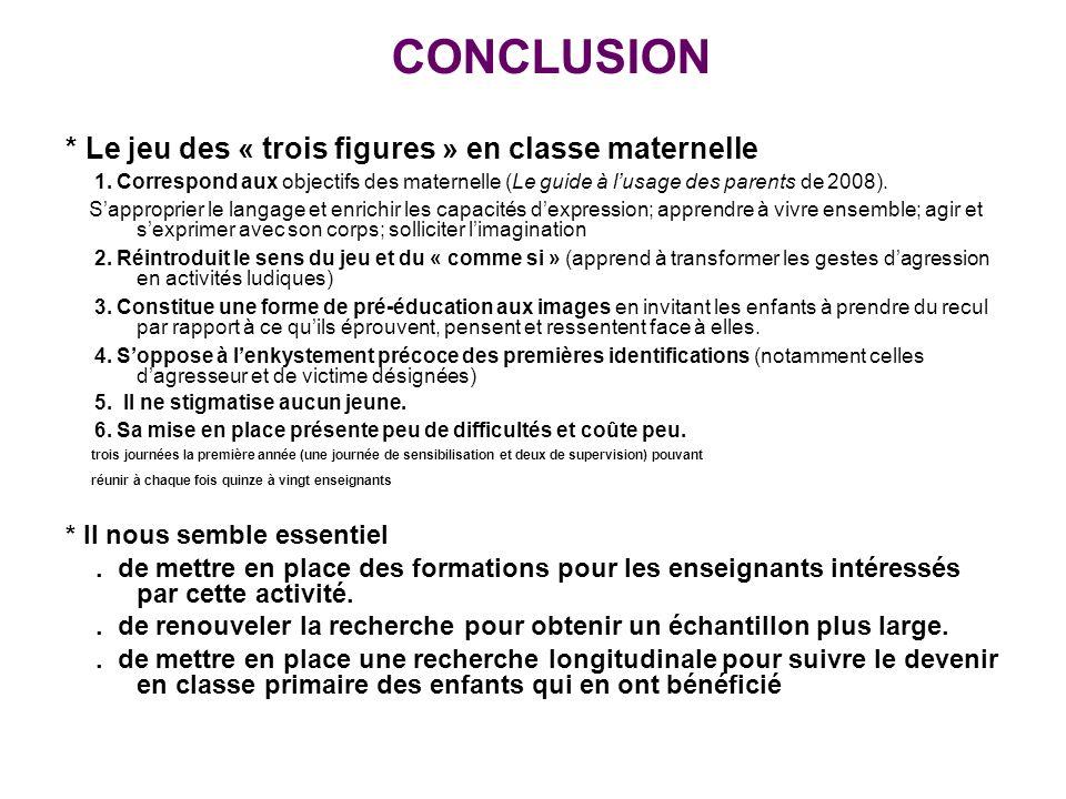 CONCLUSION * Le jeu des « trois figures » en classe maternelle 1.