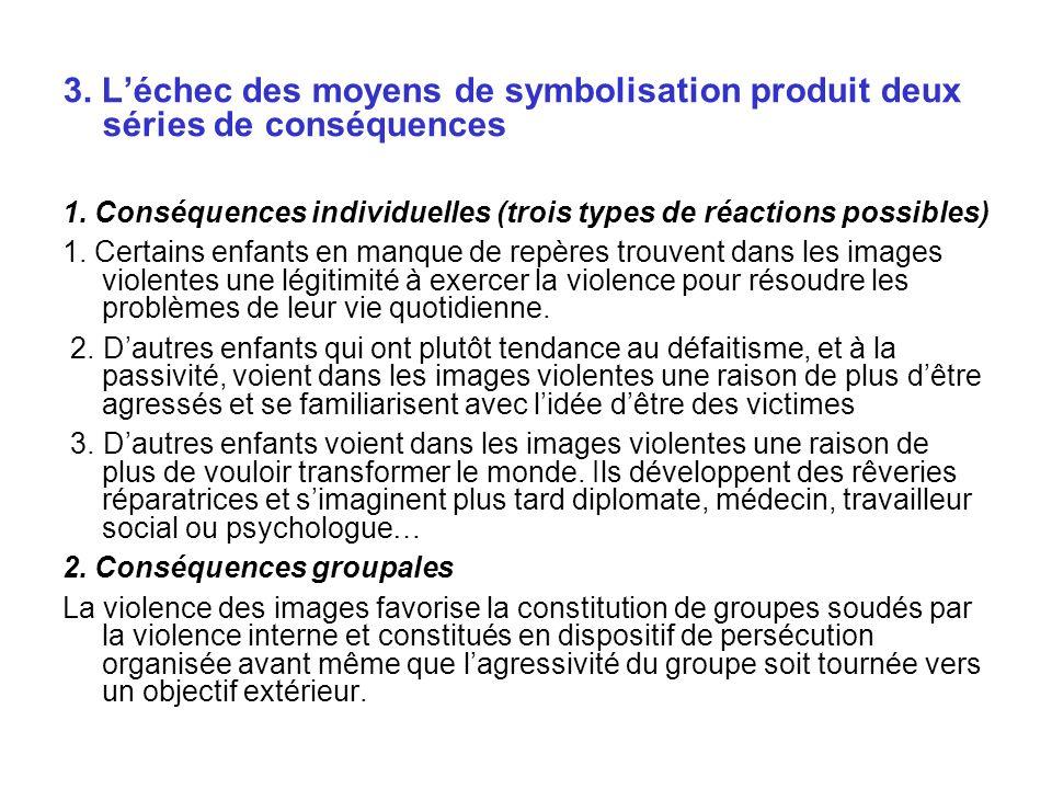 3.Léchec des moyens de symbolisation produit deux séries de conséquences 1.