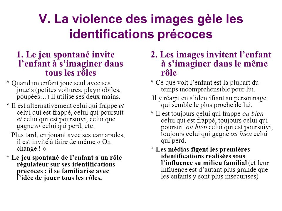 V.La violence des images gèle les identifications précoces 1.