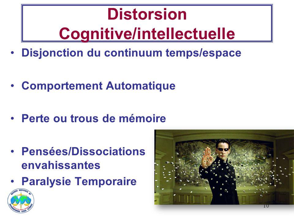 10 Distorsion Cognitive/intellectuelle Disjonction du continuum temps/espace Comportement Automatique Perte ou trous de mémoire Pensées/Dissociations